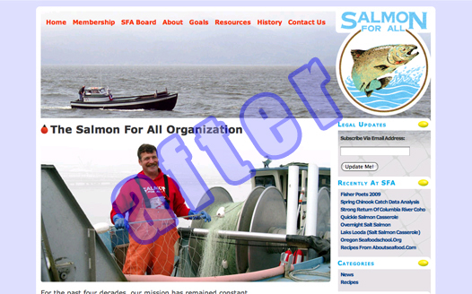 Salmon For All's new site